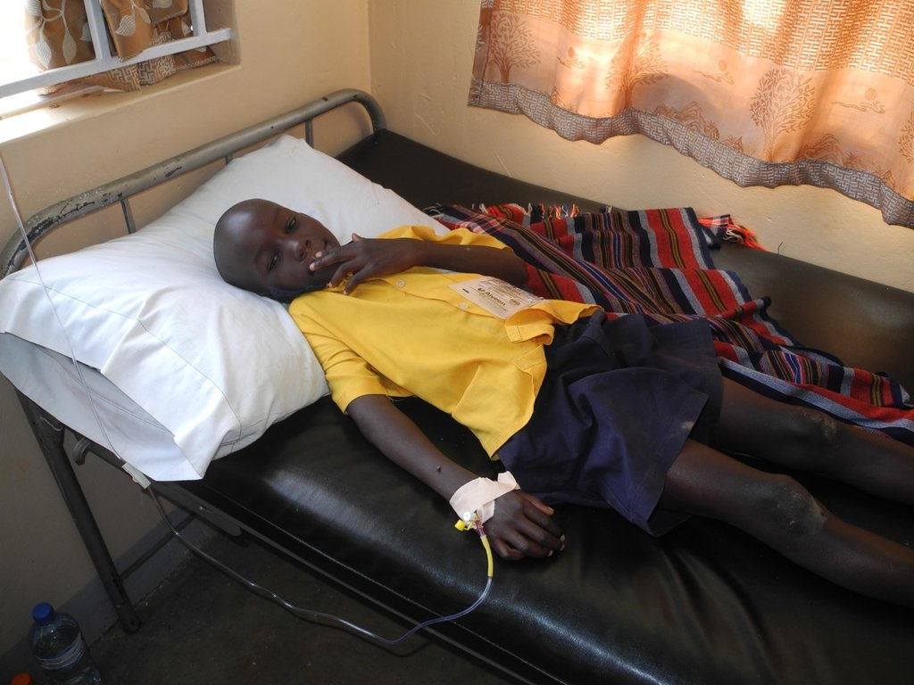 CALU student being treated for malaria at clinic