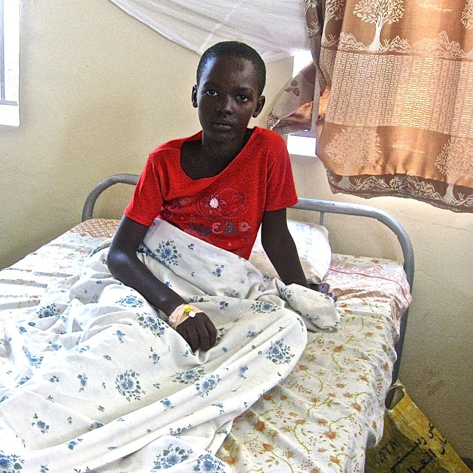 Recovering young malaria patient.