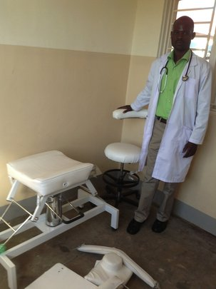 Dental chair being constructed