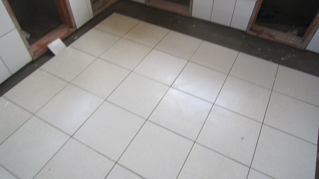 Laboratory tile being installed