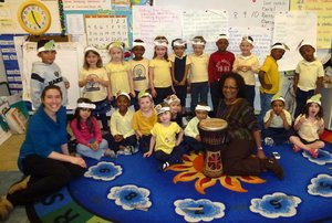 Arianna Ross with students at Tyler Elementary, DC