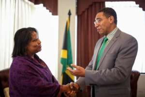 Ouida Duncan with JA Prime Minister Andrew Holness