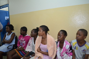 patients awaiting pre-surgery exam by DTF team