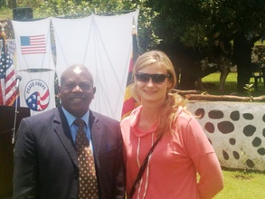 With my supervisor Enos on Peace Corps Anniversary