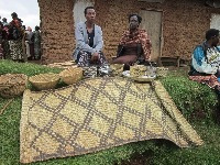 Stanley's widow (on the left) is a basket weaver