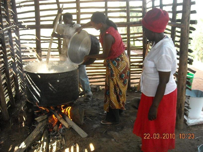 Cooking porrdige in a parent built kitchen