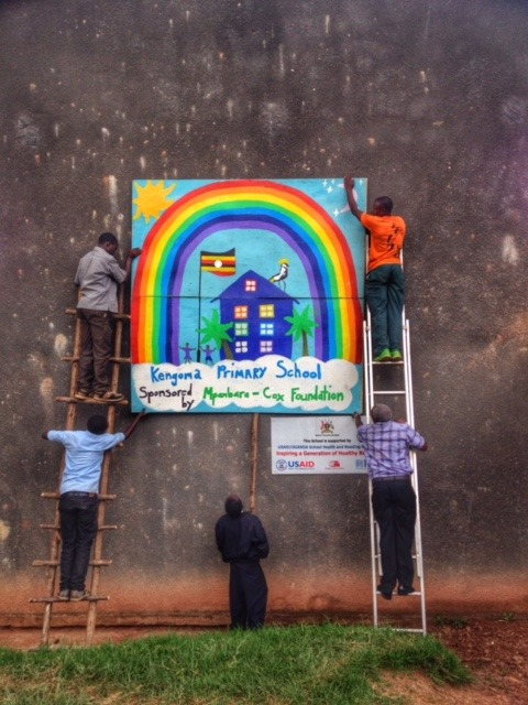 The Rainbow School System sign that we made