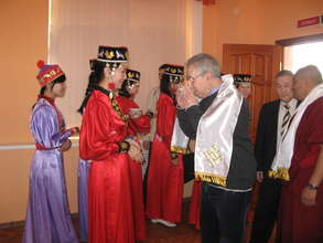 Being greeted at a high school in Kalmykia, Russia
