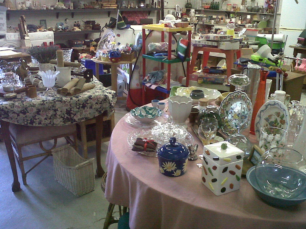 Some of the tables inside the Shoppe