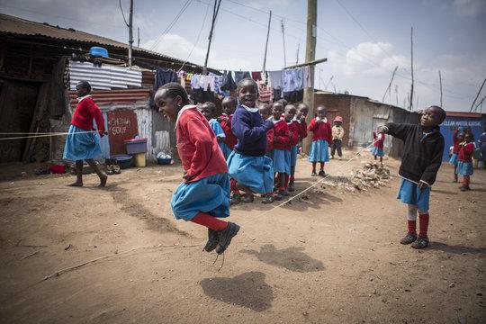 Kibera School for Girls students playing at recess
