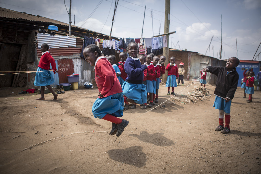 Kibera School for Girls students playing at recess