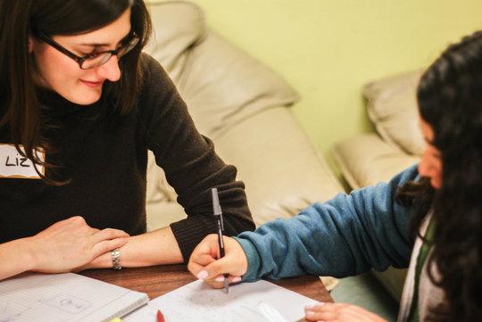 TF tutor Liz with student Antonia in San Francisco