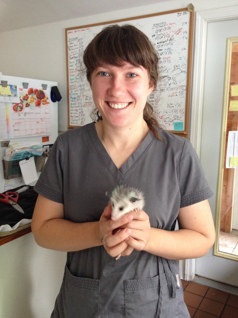 Christina with young opossum