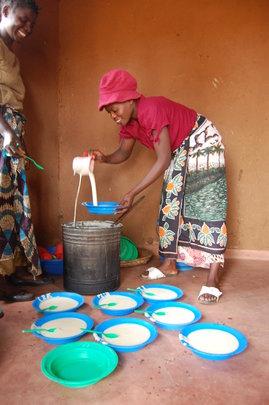 Pre-school porridge being prepared
