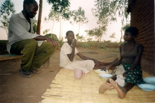 Beneficiaries of Chinseu cbo taking their meal.