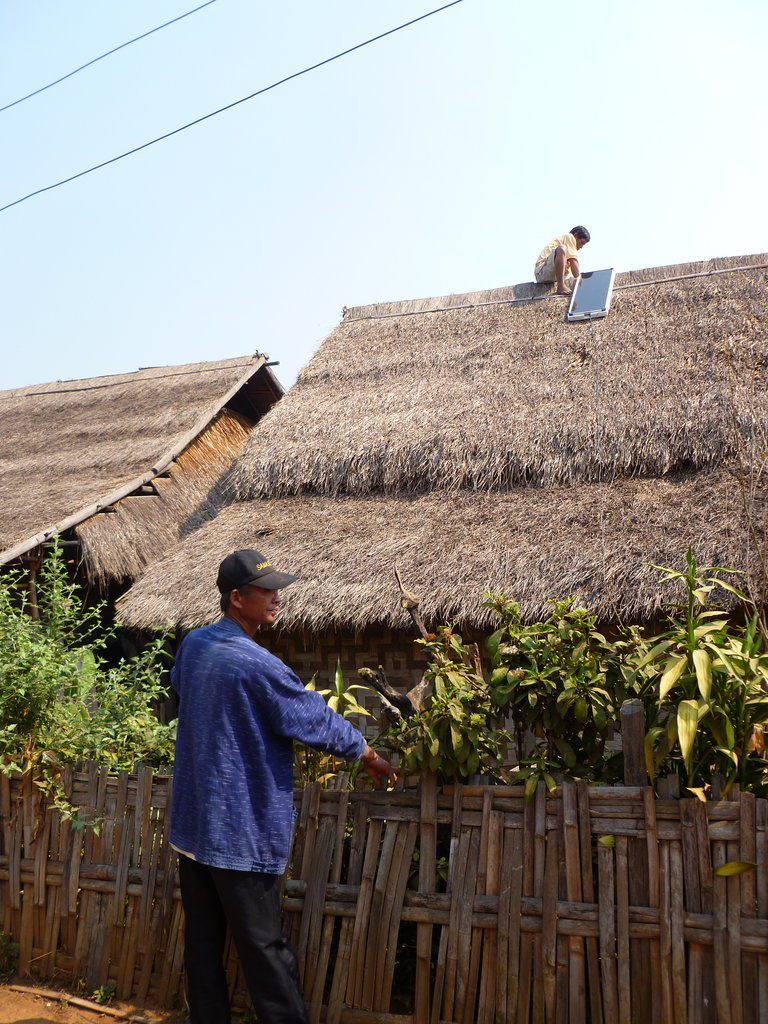 Installing one of the solar panels