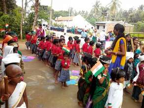 Children joining other schools on Independance Day