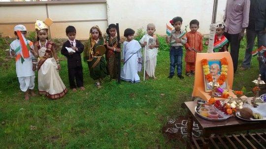 Dressed up to perform on Gandhiji