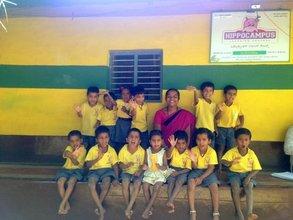 Pavita & Litika with the Kindergarten Class
