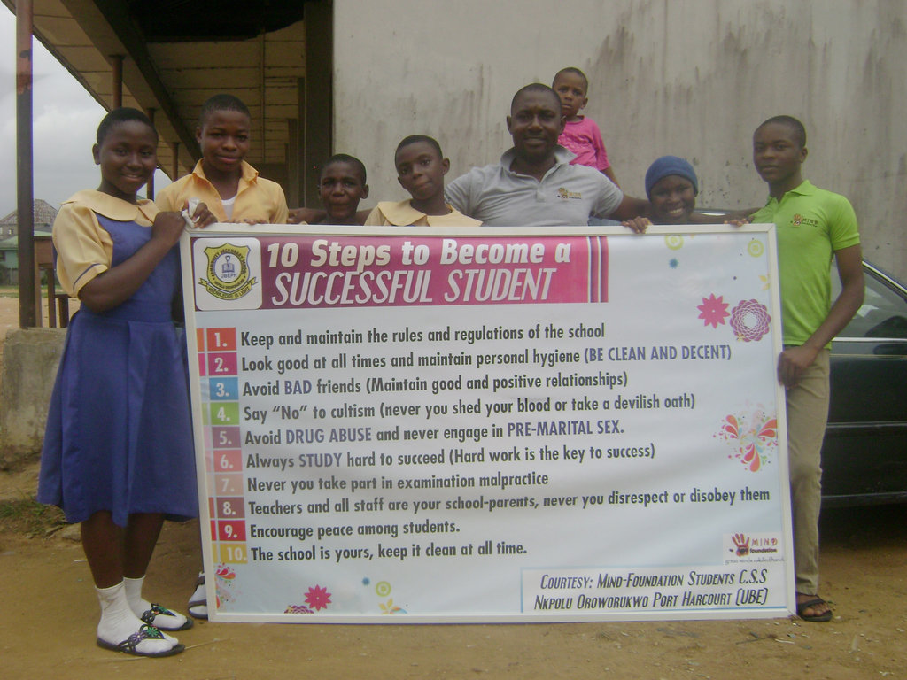 MIND kids from Nkpolu  with their banner project