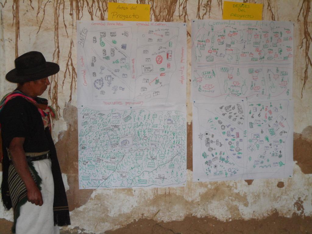 Farmer explaining resource management techniques