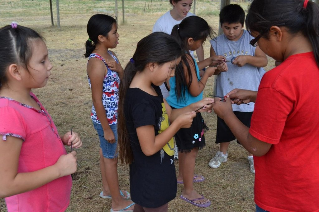 Working on a teamwork activity at the camp
