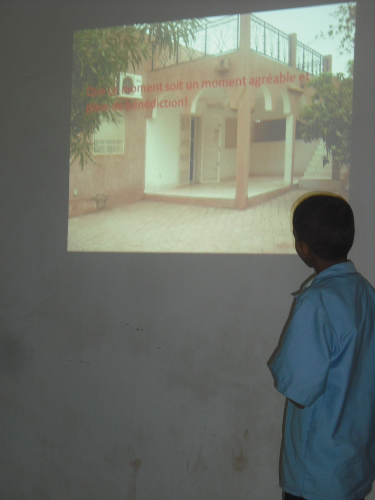A student giving a presentation to the audience...