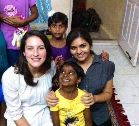 Chaitra and Pooja with volunteers, Beth and Payal