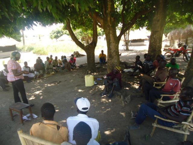 A community sensitization session.