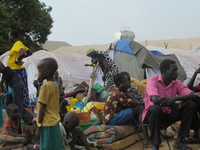 South Sudanese refugees in Adjumani refugee camp.