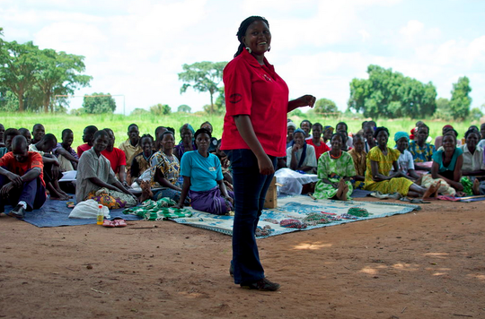 GWED-G staff member educates HIV+ women's groups