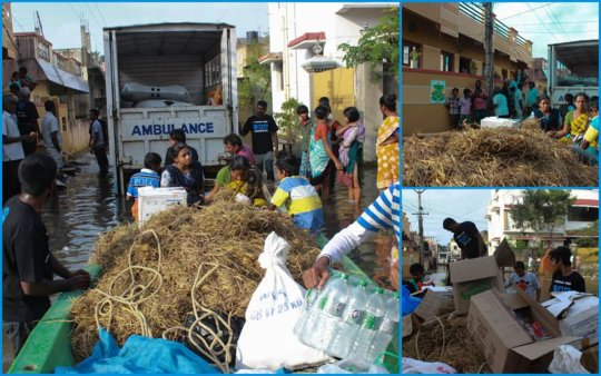 Blue Cross of India team helping out during floods
