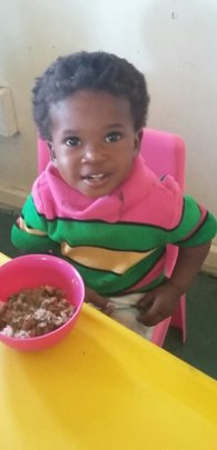 For little Qhamisa meal times are happy times!