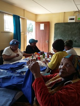 Riebeeck East Centre hard at work sewing bags