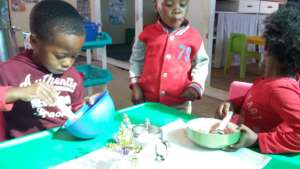 Making their own breakfast and loving it!