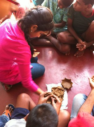 Clay modelling at the Boys Home