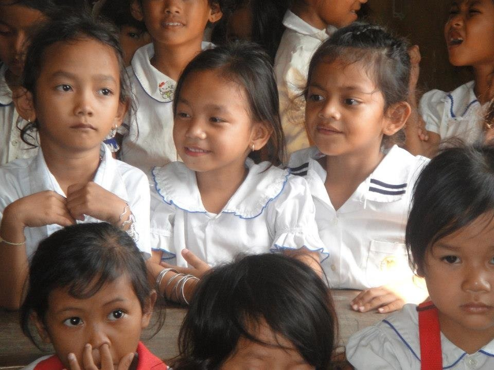 Girls at the JustWorld funded school in Cambodia