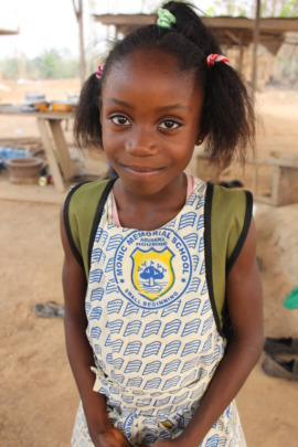 Osei's 10 year old daughter, home from school