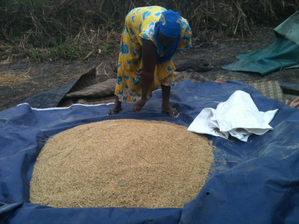 Veronica with rice harvested from her family farm