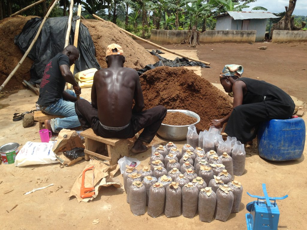 Mamuna, Awudu, & Zakaria bagging compost