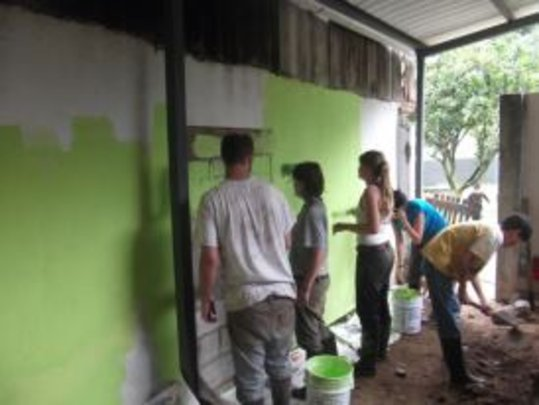 Volunteers Painting the New Workshop
