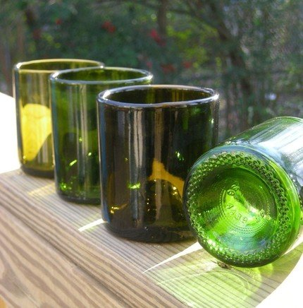Sample Recycled Glass Bottle Candle Holders