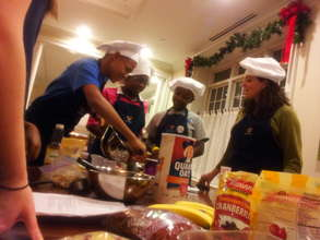 Students cook healthy granola alongside volunteers