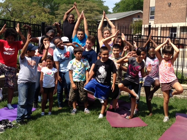 Group yoga pose