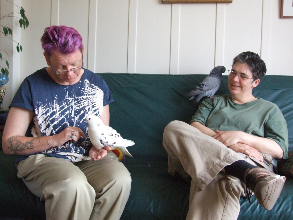 Adopters with special needs pigeons Ava & Jenny