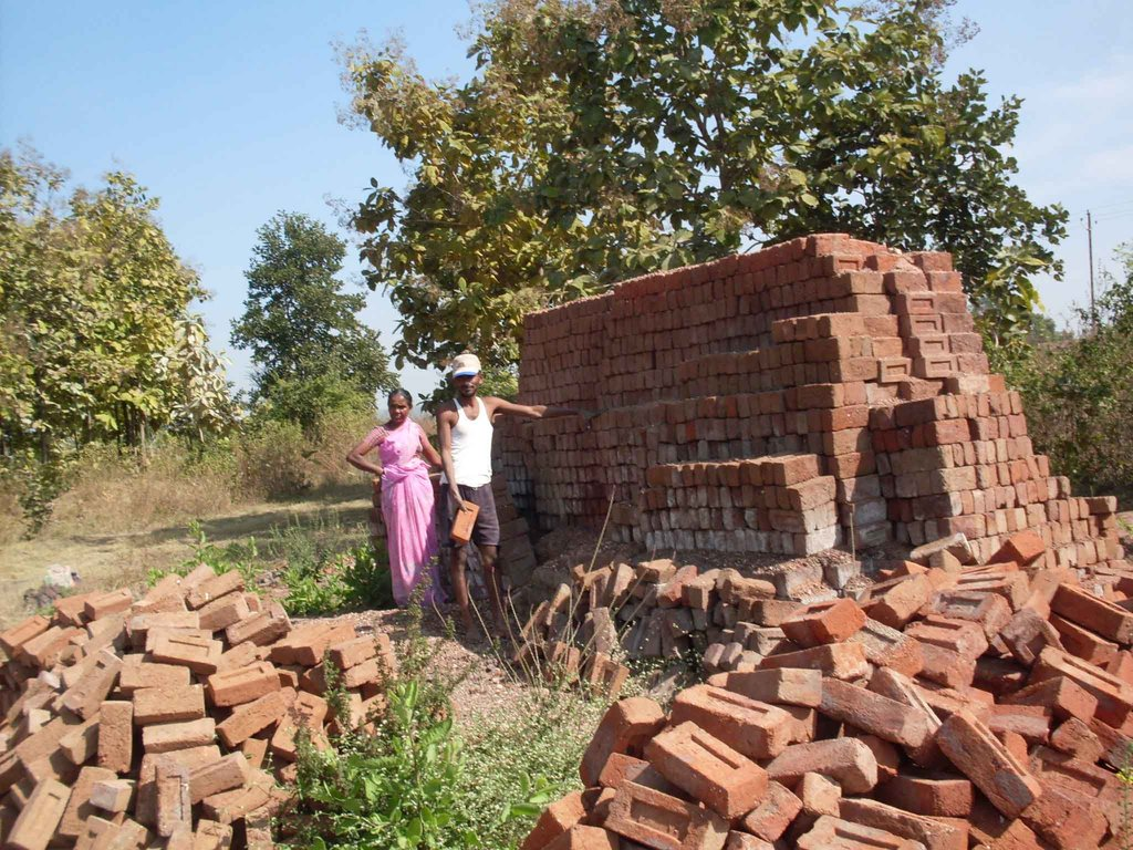 Bricks being stacked for future transportation
