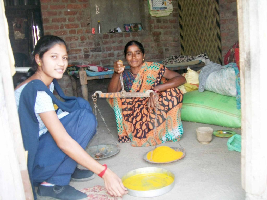 Customers buying home processed turmeric powder