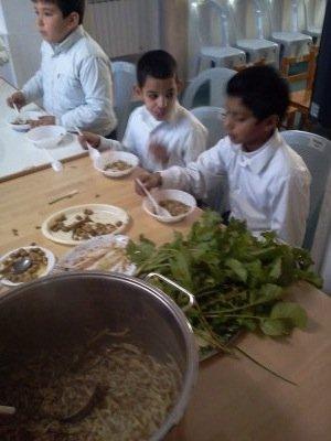 Lentil soup with noodles and garden vegetables