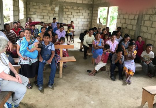 Families learning about safe water