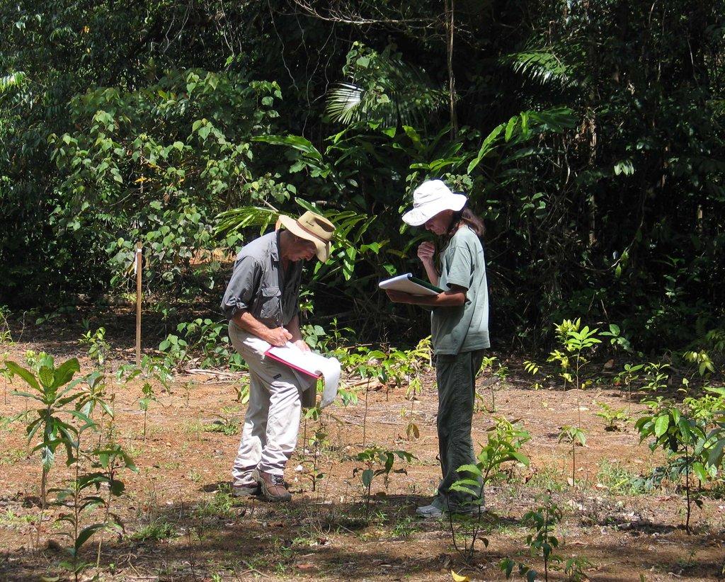 Dr Kooyman & Edie documenting plant species